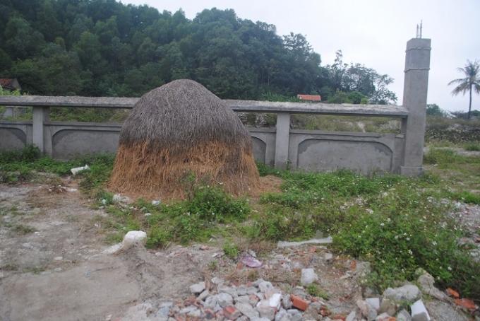 Đống rơm này tồn tại đã lâu trước cổng Khu di chỉ khảo cổ học (ảnh Duy Ngợi).