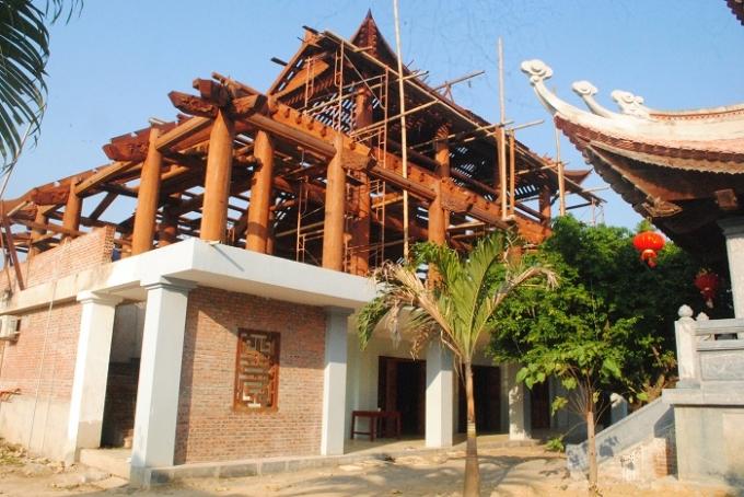 Tòa nhà Tổ đang xây dựng, nơi đặt bức tượng Bồ Đề Đạt Ma lớn nhất Việt Nam.