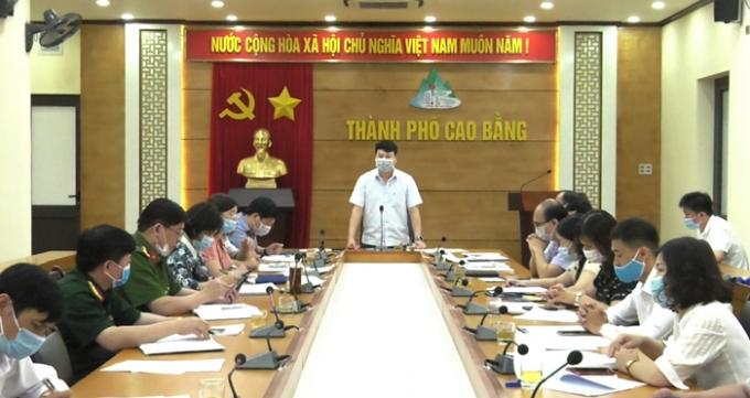 Đ/c Nguyễn Quốc Trung, Tỉnh ủy viên, Chủ tịch UBND thành phố, Chủ tịch UBBC thành phố phát biểu kết luận cuộc họp (Ảnh: Long Huyền, Đình Trung/ Báo Cao Bằng).