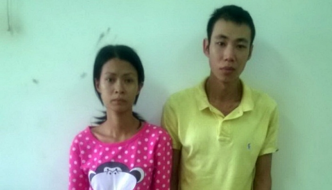 Hai vợ chồng Chung Lương Hoàng Mi (28 tuổi) và Trần Huy Hào (27 tuổi). Ảnh C.A