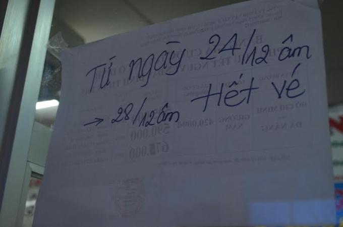 Hãng xe Phi Hiệp đã thông báo hết vé xe về Đà Nẵng từ 24 đến 28 tháng Chạp.