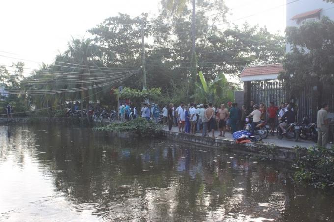Ao cá, nơi phát hiện thi thể nạn nhân nổi lềnh bềnh trên mặt nước