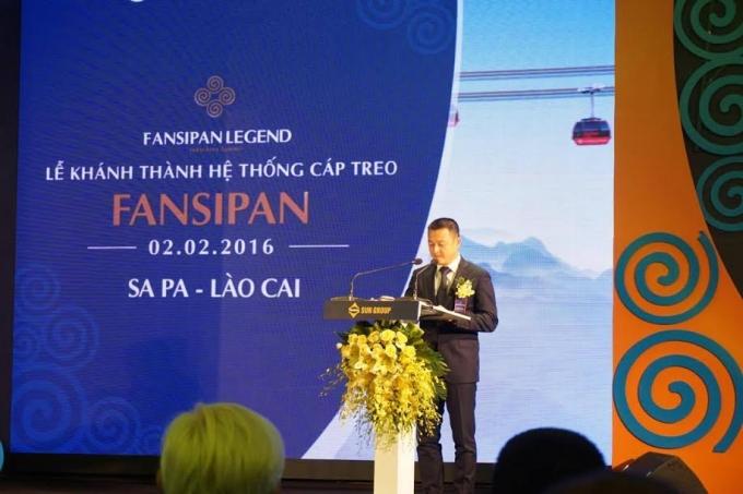 Tổng giám đốc Tập đoàn Sun Group Đặng Minh Trường phát biểu tại lễ khánh thành hệ thống cáp treo Fansipan.