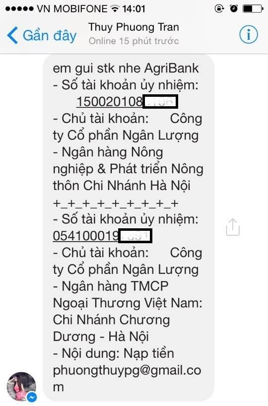 Tin nhắn Thuy Phuong Tran gửi cho phóng viên