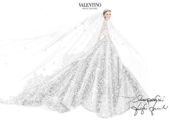 Bản phác thảo đẹp ấn tượng của nhà mốt Valentino. Ảnh: Internet