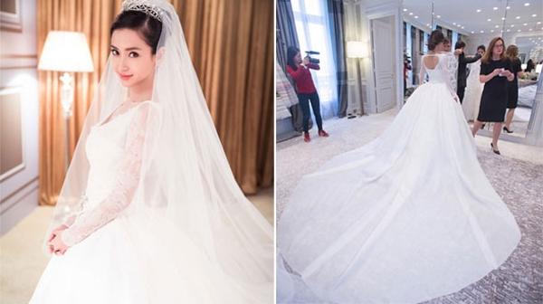 Cô dâu xinh đẹp Angela diện thiết kế của nhà mốt lừng danh nước Pháp - Dior với mức giá được đồn đoán lên đến hàng triệu USD. Ảnh: Internet