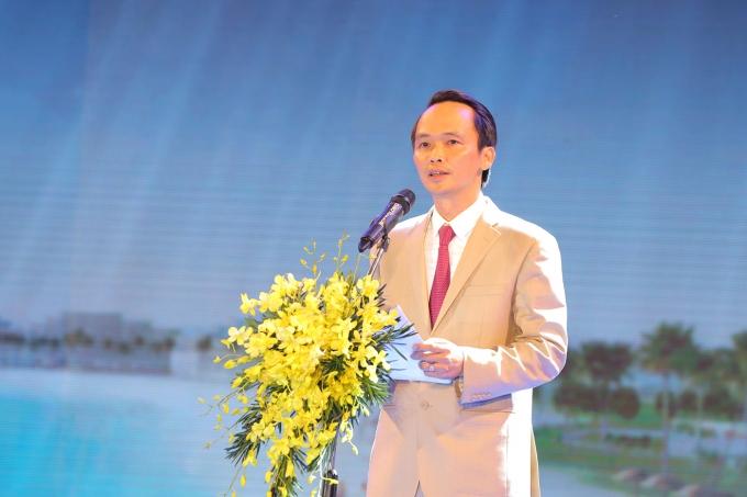 Ông Trịnh Văn Quyết - Chủ tịch HĐQT Tập đoàn FLC phát biểu tuyên bố khánh thành Quần thể Du lịch nghỉ dưỡng sinh thái FLC Quy Nhơn.