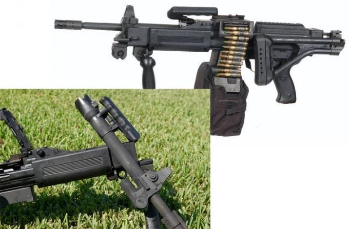 Báng súng dạng ống thép có thể gập vào thân súng để tăng độ cơ động. Nòng súng còn là điểm tựa của đầu ruồi phía trước cũng như quai xách có thể gấp mở dễ dàng. Đễ giữ súng có được độ tin cậy cũng như hoạt động trơn tru, nhà sản xuất cũng cho phép xạ thủ có thể thay thế nòng nhanh chóng.