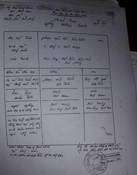 Bản sao giấy khai sinh ghi rõ ông Phạm Văn Xà, tức Thư sinh năm 1960...