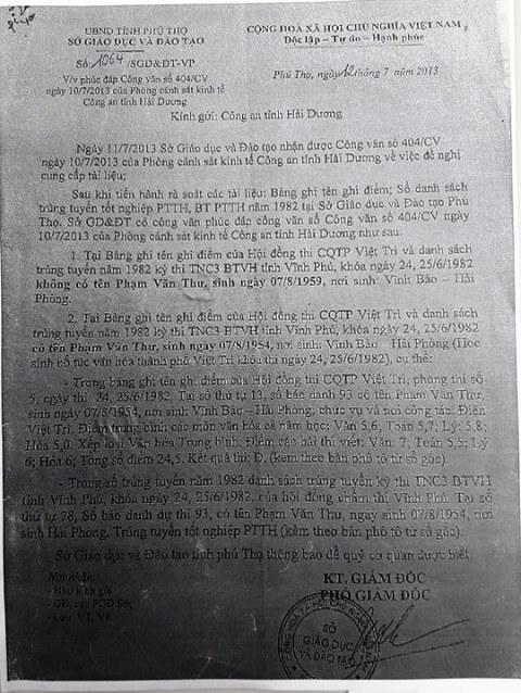 Sở Giáo dục và Đào tạo tỉnh Phú Thọ xác nhận không có Phạm Văn Thưsinh ngày 07/08/1959