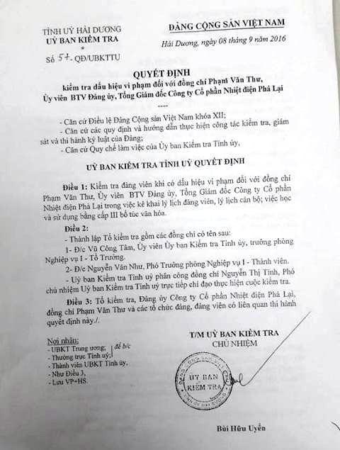 Uỷ ban kiểm tra Tỉnh uỷ Hải Dương có quyết định thành lập tổ kiểm tra đối với ông Phạm Văn Thư
