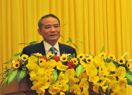Tân Bí thư Thành ủy Đà Nẵng Trương Quang Nghĩa phát biểu tại buổi công bố quyết định.Ảnh: Đình Thiên