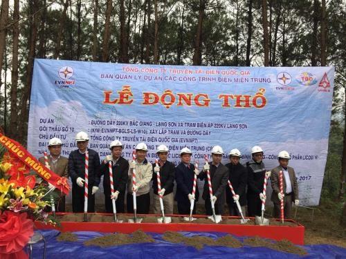 Khởi công dự án đường dây 220kV Bắc Giang - Lạng Sơn và trạm biến áp 220kV Lạng Sơn.