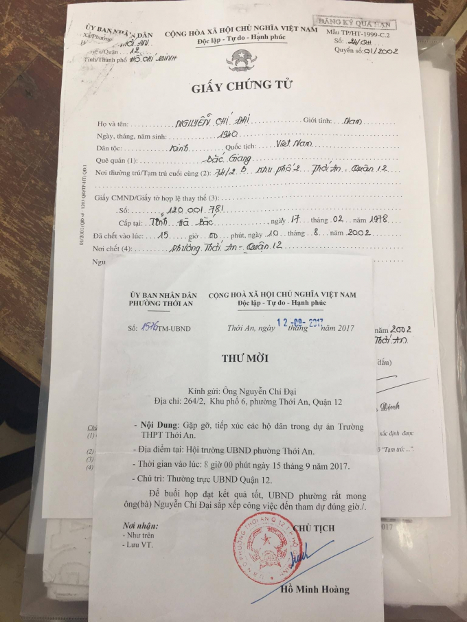 Ông Nguyễn Chí Đại đã chết 15 năm trước vẫn được văn bản thông báo, giấy mời từ chính quyền địa phương.