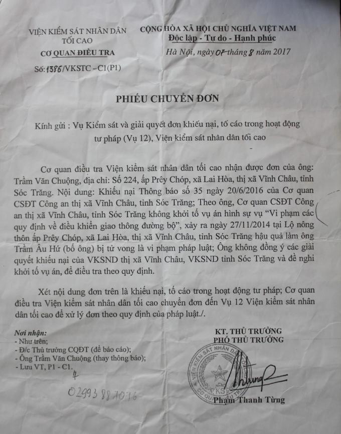 Phiếu chuyển đơn của VKSND Tối cao.