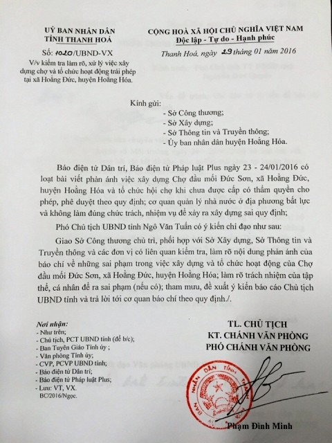 Sau khi Pháp Luật Plus phản ánh thực trạng xây chợ Đức Sơn trái phép, UBND tỉnh đã vào cuộc chỉ đạo làm rõ và xử lý việc xây chợ, hoạt động trái phép.