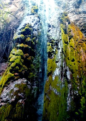 Mục đích chính của nhiều du khách về Phủ Na đều muốn đến chiêm ngưỡng dòng thác chảy ra từ đỉnh núi và xin nước thánh. (Ảnh: A.Thắng)
