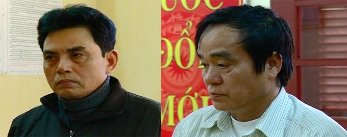 Trần Quốc Hội (trái) và Nguyễn Xuân Tỵ (phải) bị bắt để điều tra tội Làm giả con dấu, tài liệu của cơ quan, tổ chức. (Ảnh: Đ. Hợp)