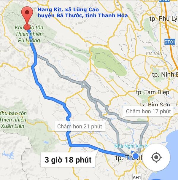 Địa điểm Hang Kịt (xã Lũng Cao, huyện Bá Thước, tỉnh Thanh Hóa) nơi lực lượng cứu hộ cứu nạn đang tìm cách giải cứu 3 phu đào vàng bị ngạt khí trong lòng hang.