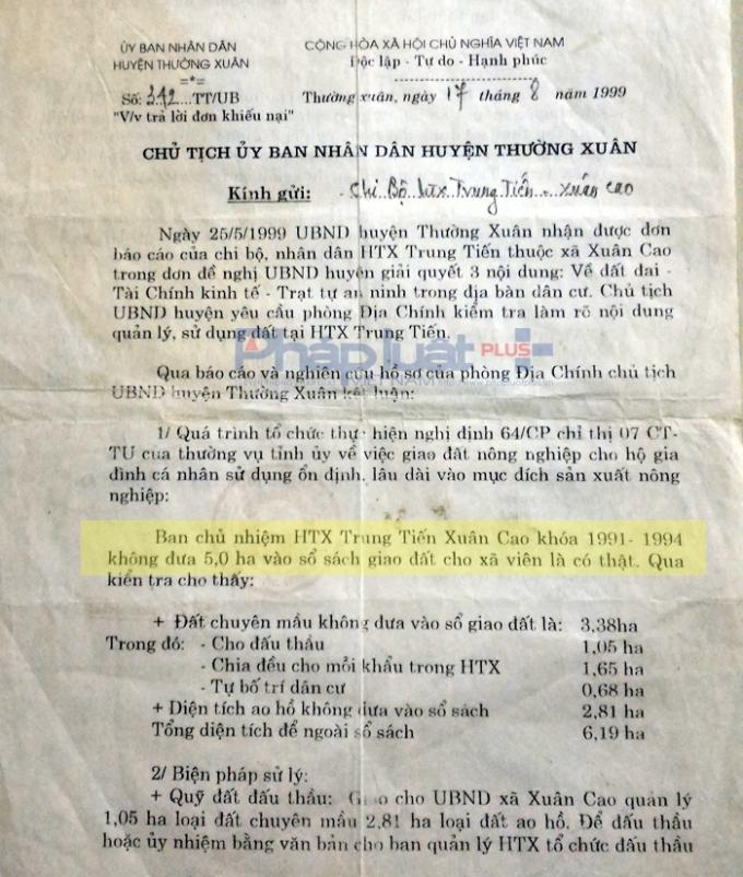 Công văn của UBND huyện Thường Xuân khẳng định việc HTX để 5ha đất ngoài sổ sách là có thật và yêu cầu xử lý cá nhân vi phạm. (Ảnh: A.Thắng)