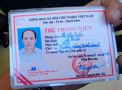 Tổng biên tập tạp chí Nhà quản lý Hàn Mạnh Tiến cho biết đây là thẻ giả.