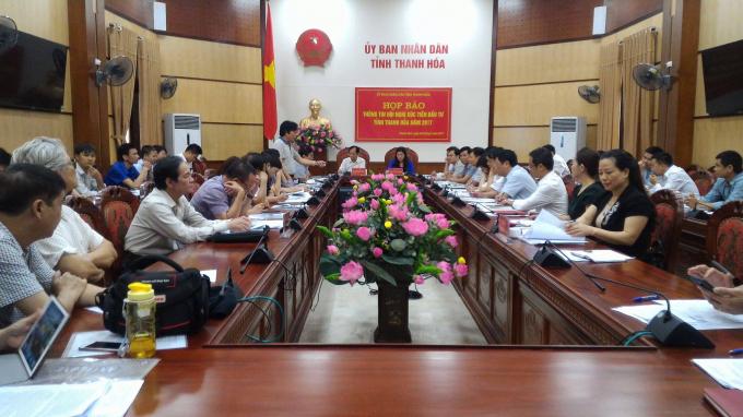 Họp báo thông tin về chuẩn bị cho Hội nghị xúc tiến đầu tư tỉnh Thanh Hóa năm 2017. (Ảnh: A.Thắng)