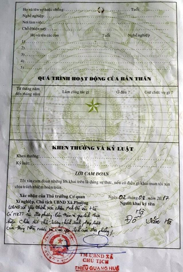 Chủ tịch xã bút phê nội dung trái quy định vào sơ yếu lý lịch, học sinh Đỗ Văn Hà đã bị nhà trường từ chối hồ sơ. (Ảnh: A.T)