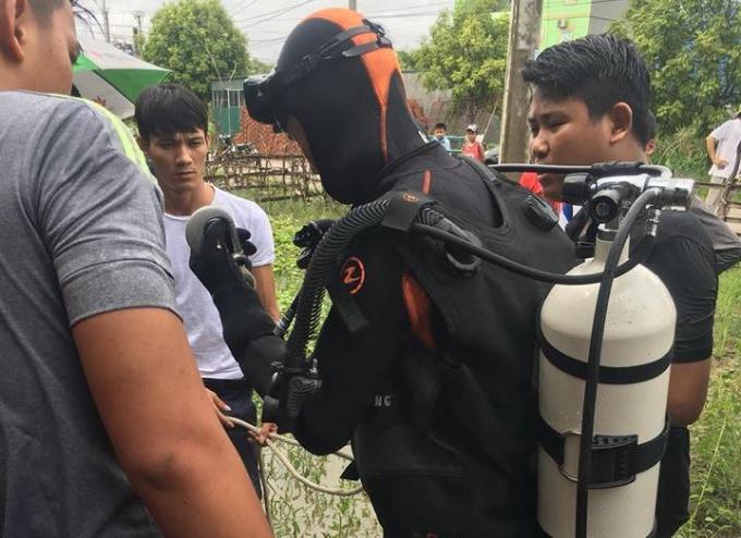 Cảnh sát PCCC Thanh Hóa liên tục trong 2 giờ lặn tìm kiếm thi thể nạn nhân