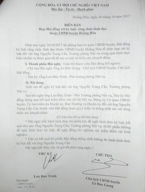 Trưởng phong Nội vụ huyện Hoằng Hóa Nguyễn Trọng Cần thoát hình thức kỷ luật sau kết quả bỏ phiếu.
