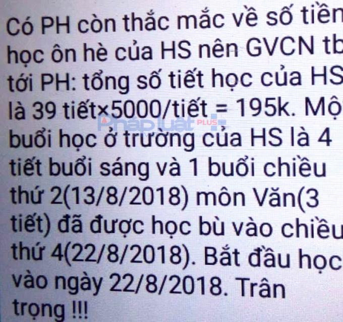 Chi tiết khoản thu học ôn hè của trường THCS Ba Đình gửi phụ huynh. (Ảnh: A.Thắng)