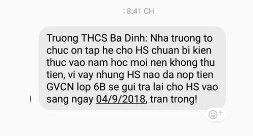 Trường THCS Ba Đình thực hiện trả lại tiền lạm thu sớm nhất, ngay sau khi Pháp luật Plus đăng tải. (Ảnh: A.Thắng)