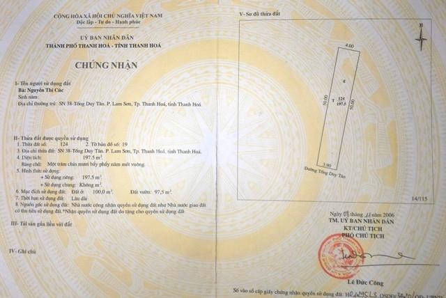 Bìa đỏ hợp pháp AG 725761 cấp năm 2006 đã chuyển nhượng cho bà Kỳ