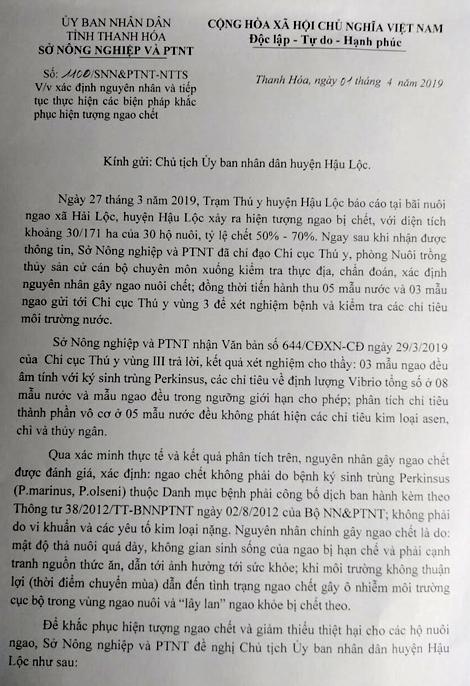 Kết luận nguyên nhân ngao chét hàng loạt của Sở nông nghiệp và Phát triển nông thôn tỉnh Thanh Hóa