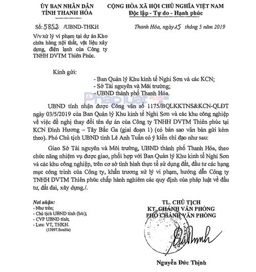 Trước những sai phạm kéo dài nhiều năm của Công ty Thiên Phúc, UBND tỉnh Thanh Hóa đã chỉ đạo khẩn trương xử lý sai phạm.