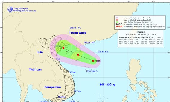 Hình ảnh cơn áp thấp nhiệt đới trên biển Đông được chụp từ vệ tinh. (Ảnh: Trung tâm KTTVTW)