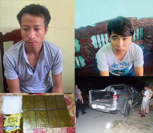 Hai đối tượng Tùng và Hưng cùng tang vật tại cơ quan điều tra