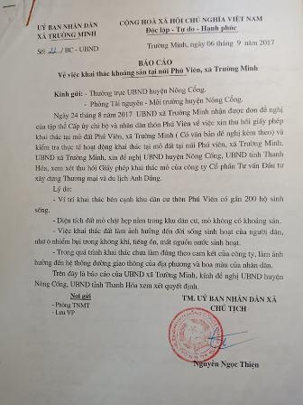 Báo cáo của UBND xã Trường Minh gửi huyện về thực trạng ô nhiễm của mỏ đất và ý kiến cấp Ủy thôn đề nghị thu hồi giấy phép
