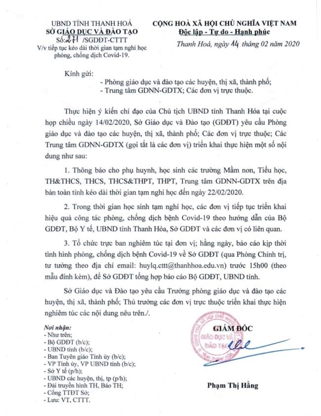 Văn bản thông báo lịch tạm nghỉ học đối với học sinh các cấp tại Thanh Hóa đến ngày 22/2.