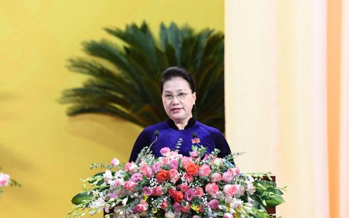 Bà Nguyễn Thị Kim Ngân, Ủy viên Bộ Chính trị, Chủ tịch Quốc hội phát biểu chỉ đạo tại Đại hội Đảng bộ tỉnh Thanh Hóa sáng 27/10.