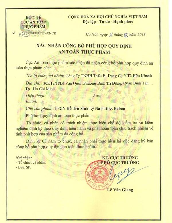 Giấy phép của Công ty Hữu Khánh