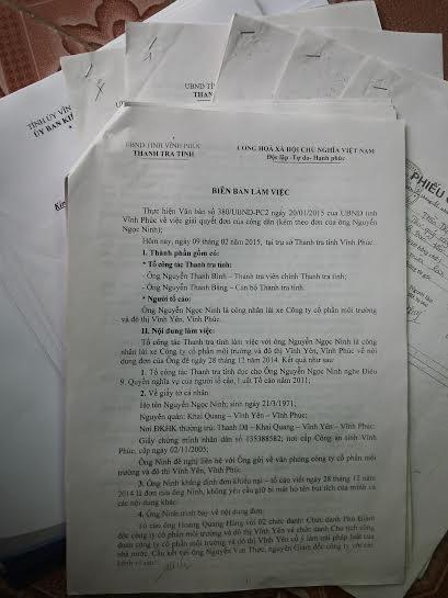 Biên bản làm việc của Thanh tra tỉnh Vĩnh Phúc với người tố cáo