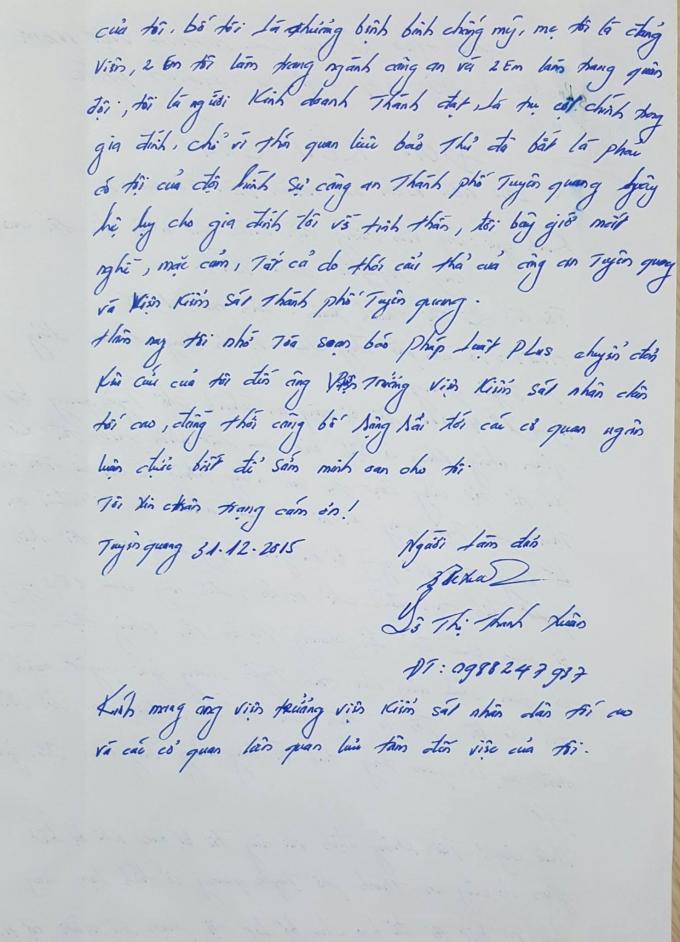 Đơn Kêu cứu của bị can Lê Thị Thanh Xuân gửi Viện trưởng VKSNDTC Nguyễn Hòa Bình.