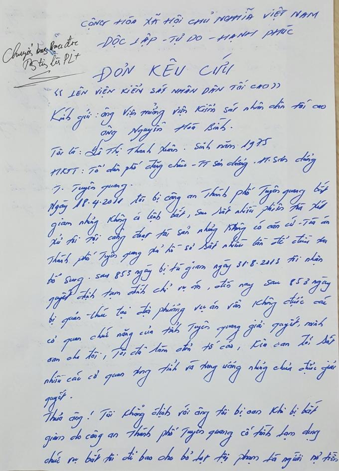 """Người đẹp bị giam giữ """"1706 ngày"""" kêu oan lên Viện trưởng VKSND Tối cao"""