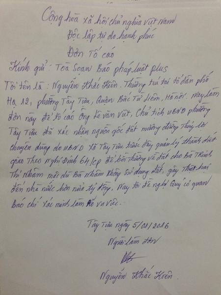 Người dân phường Tây Tựu tiếp tục gửi đơn tố cáo về những sai phạm trong việc đến bù đất đai của UBND huyện Từ Liêm (cũ) và cá nhân ông Lê Văn Việt- Chủ tịch UBND phường Tây Tựu.