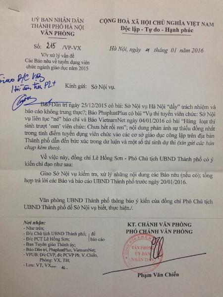 UBND Thành phố Hà Nội yêu cầu Sở Nội vụ báo cáo vụ thi tuyển viên chức tại quận Đống Đa.