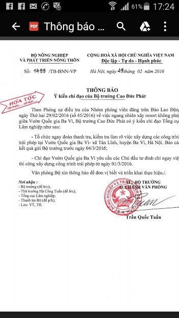 Công văn hỏa tốc của Bộ NNPTNT thông báo ý kiến chỉ đạo của Bộ trưởng Cao Đức Phát về vụ việc.