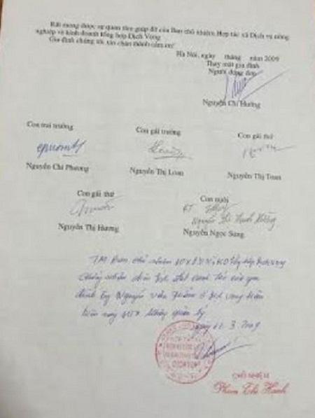 Giấy xác nhận HTX không quản lý khu đất của gia đình ông Phương.