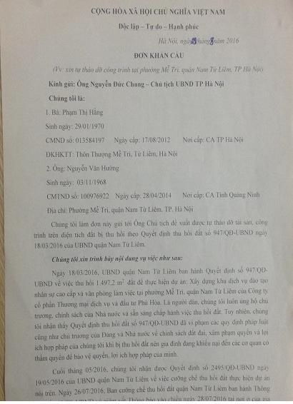 Sau khi UBND quận Nam Từ Liêm ra Thông báo quyết định cưỡng chế thu hồi đất, ông Nguyễn Văn Hường đã làm đơn khẩn cầu Chủ tịch Nguyễn Đức Chung xem xét lại vụ việc.