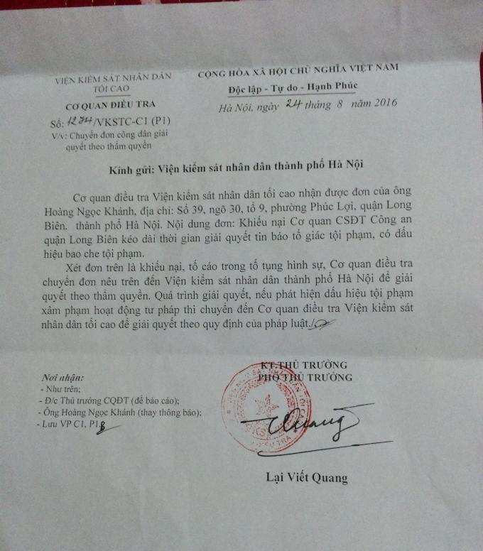 Công văn số 1274/ VKSTC-C1 (P1) gửi Viện KSND TP Hà Nội.