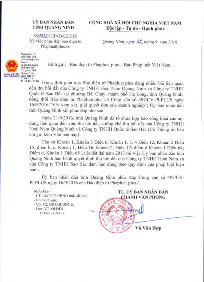 Văn bản trả lời của UBND tỉnh Quảng Ninh sau khi Pháp luật Plus đăng tải loạt bài liên quan đến khiếu nại của Công ty Sao Bắc và Công ty Hoài Nam.